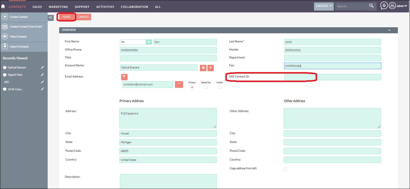 Screenshot Entering the Contact information in SuiteCRM