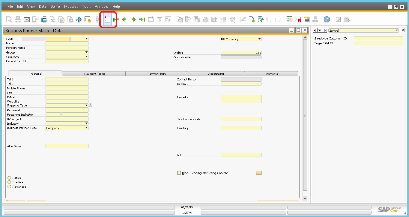 Screenshot click on add button to enter account and contact details in SAP.