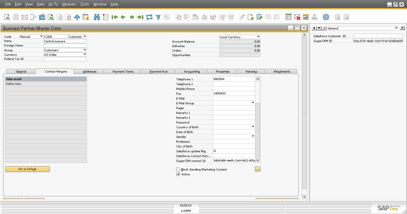 Screenshot of Account and Contact are created in SAP B1