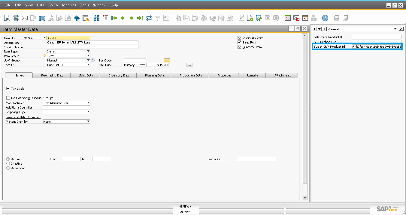 Screenshot of Start sync to SugarCRM using .NET application