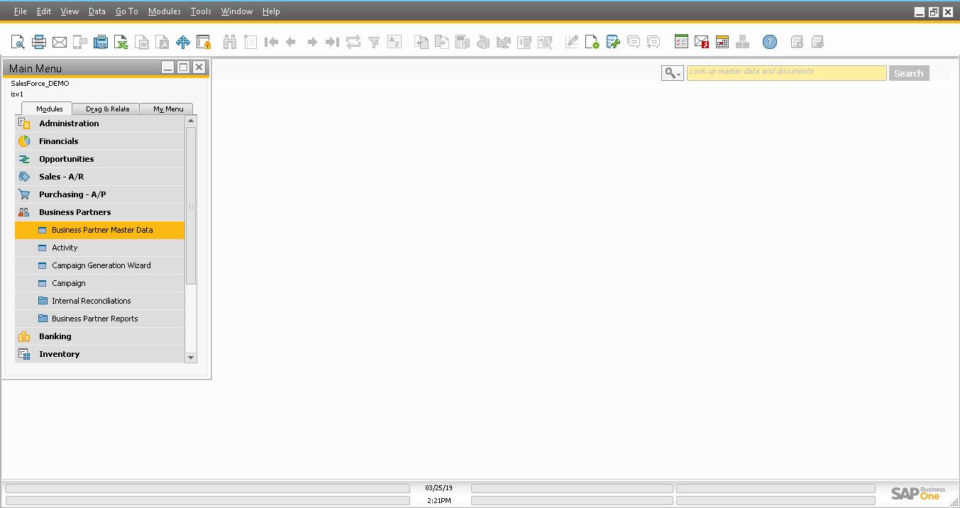 Screenshot of after login to B1 GUI