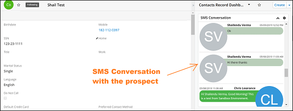SMS Conversation in contacts detail view
