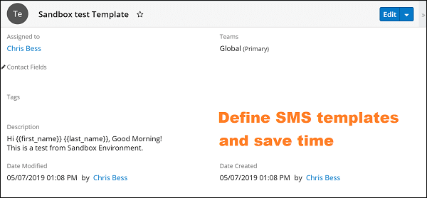 Screenshot of Define SMS templates