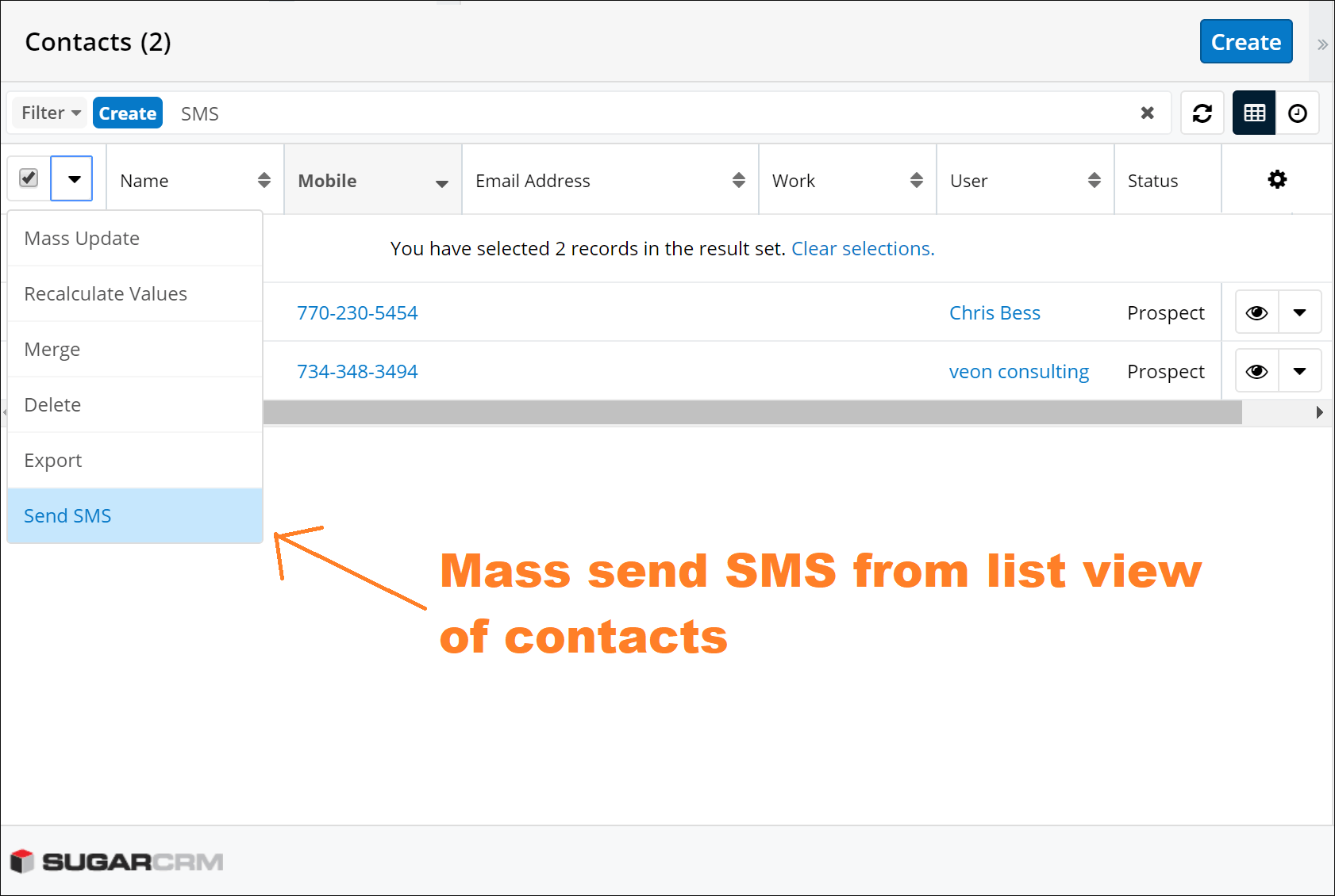 Screenshot of Mass send SMS from list of Contact