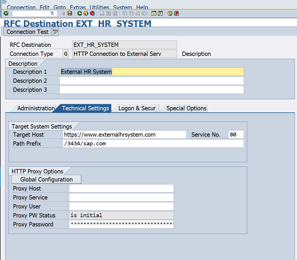 Defining external HR system within SAP