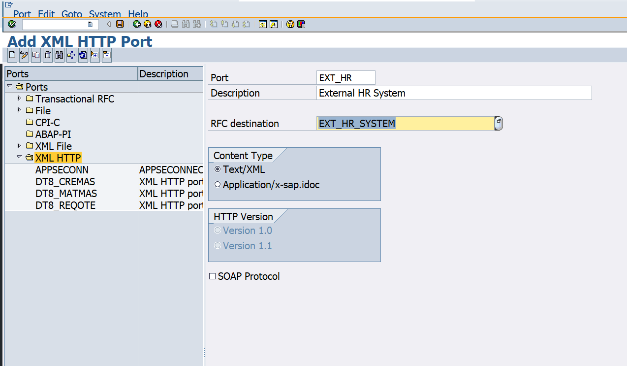Port definition for External HR system in SAP