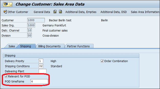 Screenshot of Configure the POD in SAP