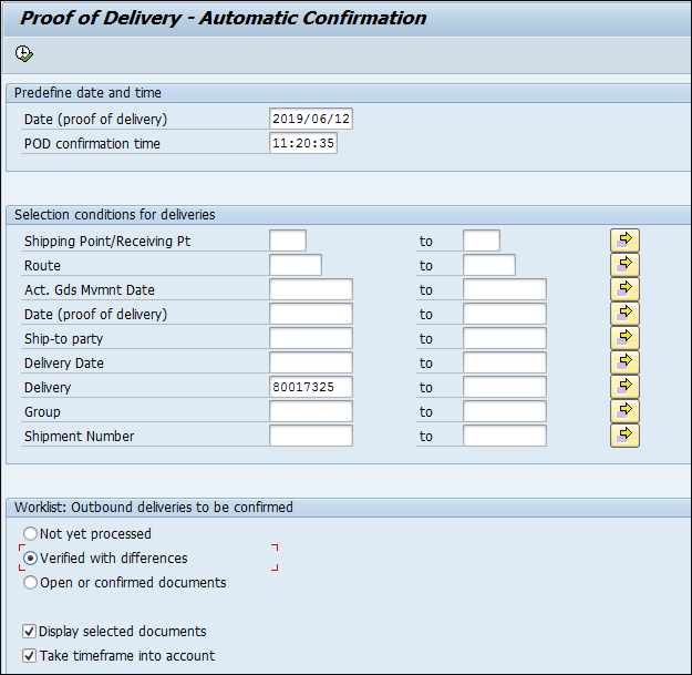 Screenshot of Delivery automatic confirmation