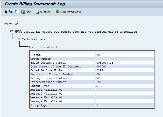 Screenshot of creating a billing document