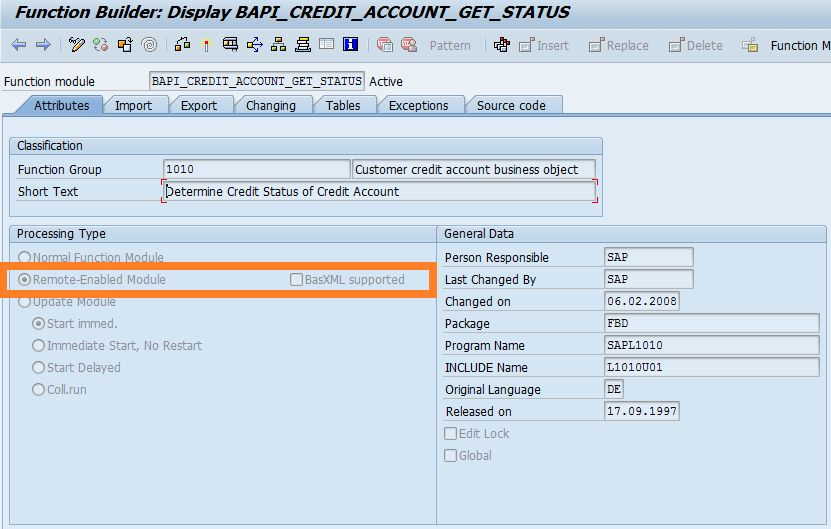 SAP function module with remote call enabled
