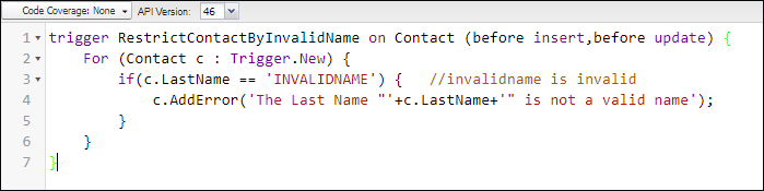 Screenshot of Apex code to restrict the contact in Salesforce