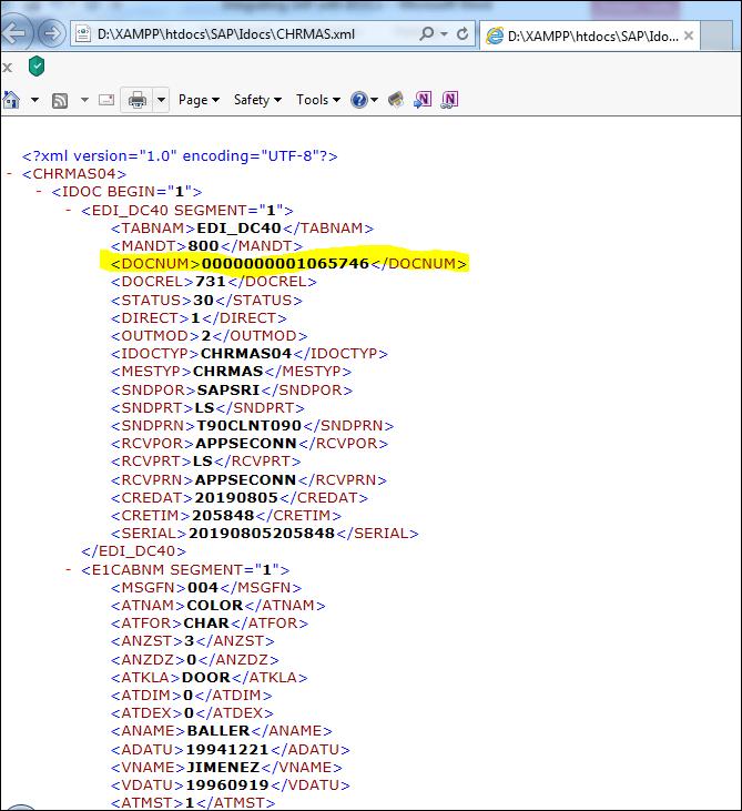 Screenshot of CHRMAS XML data