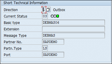 Screenshot of Control Record sender and receiver in SAP
