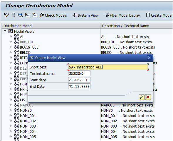 Screenshot of Creating Model view of SAP Integration ALE