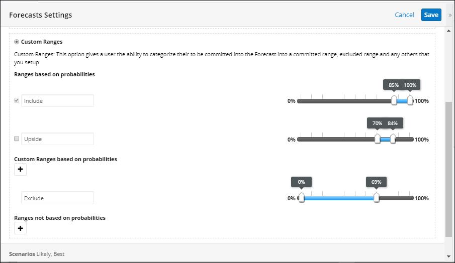 Screenshot of Custom ranges forecast settings in SugarCRM