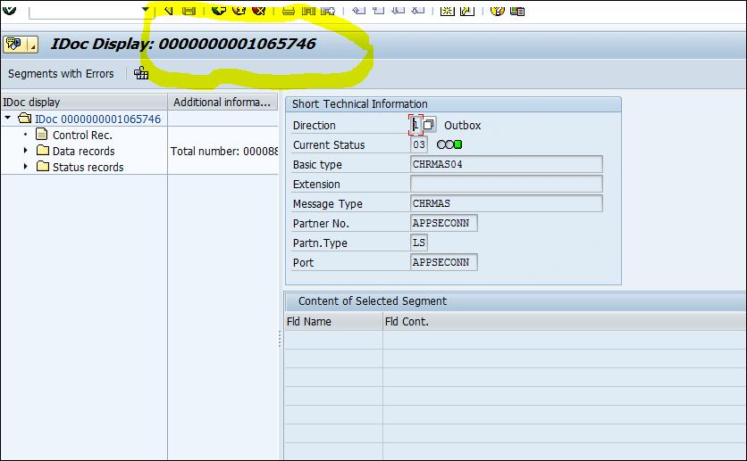 Screenshot of IDoc Display Id
