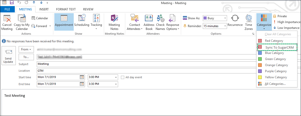 Screenshot of Meeting Sync from Outlook to CRM