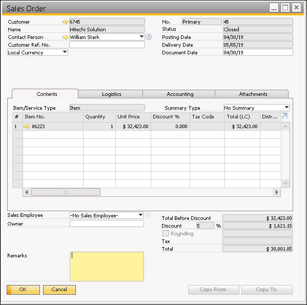 Screenshot of Sales Order customer details