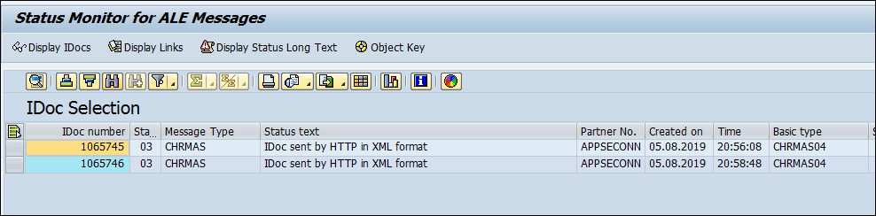 Screenshot of Status Monitor for ALE messages