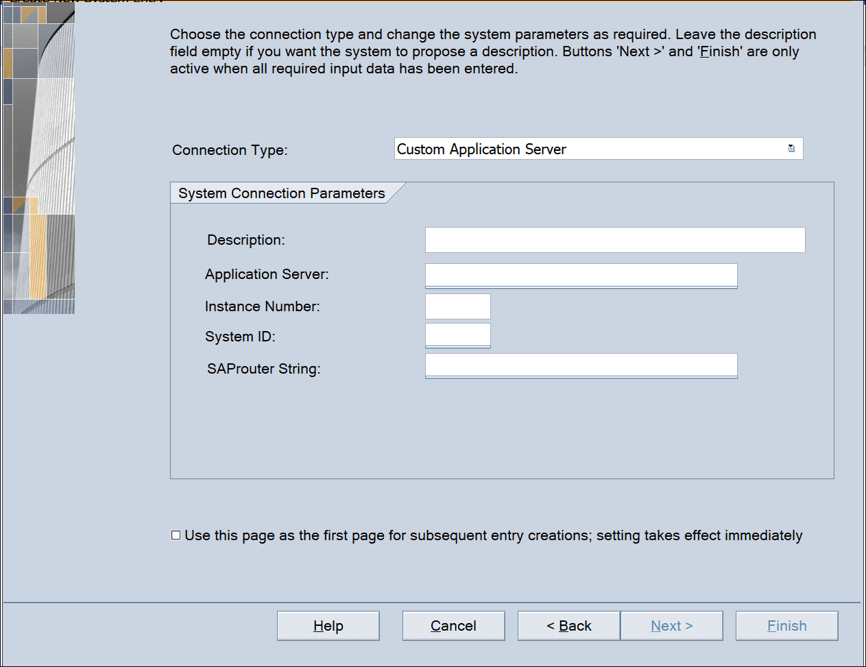 Screenshot of configured access via SAP GUI