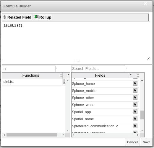 Screenshot of formula builder panel
