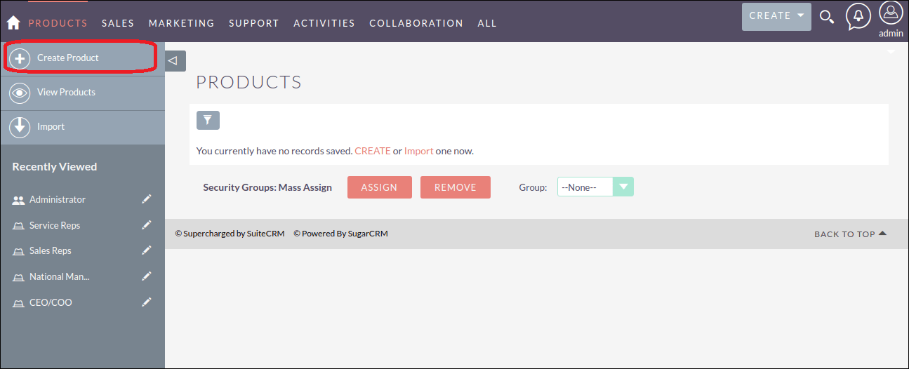 Screenshot of Creating Module in SuiteCRM