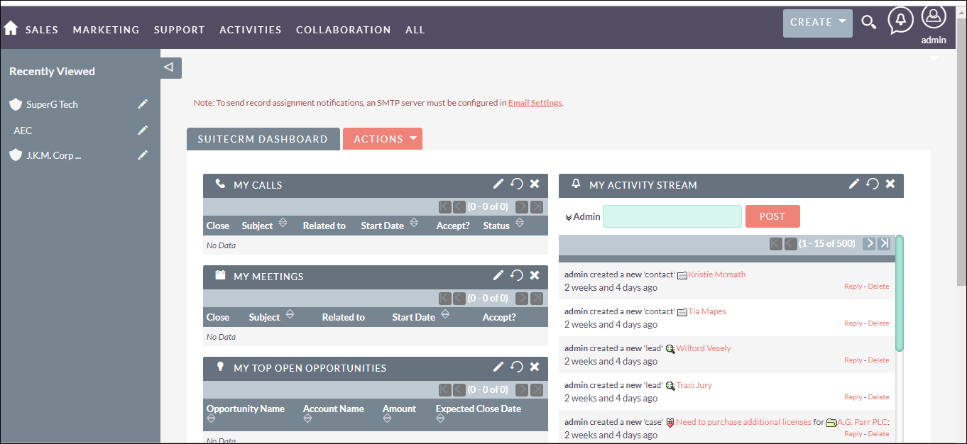 Screenshot of Dashboard in SuiteCRM for Product Creation