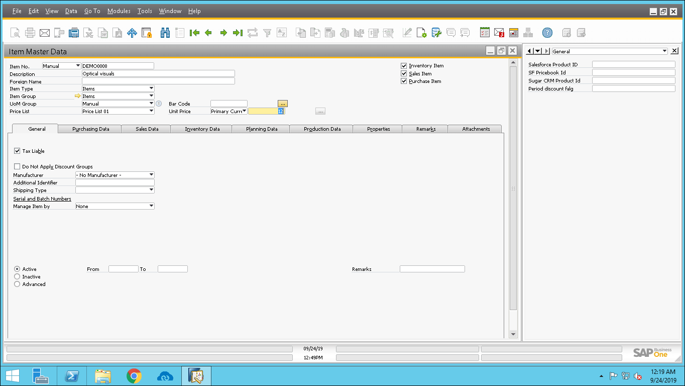 Screenshot of Entering product details in Item Master data