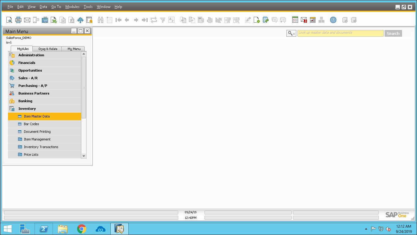 Screenshot of Navigating to Inventory in SAP B1