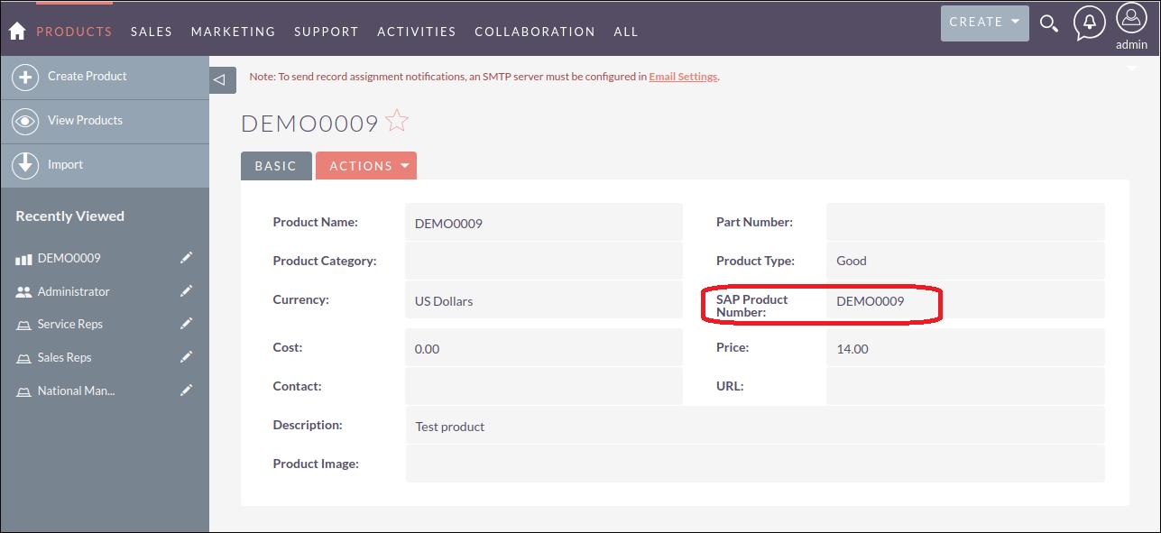 Screenshot of SAP number is updated in SuiteCRM