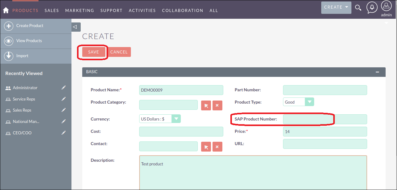 Screenshot of entering Product information in SuiteCRM