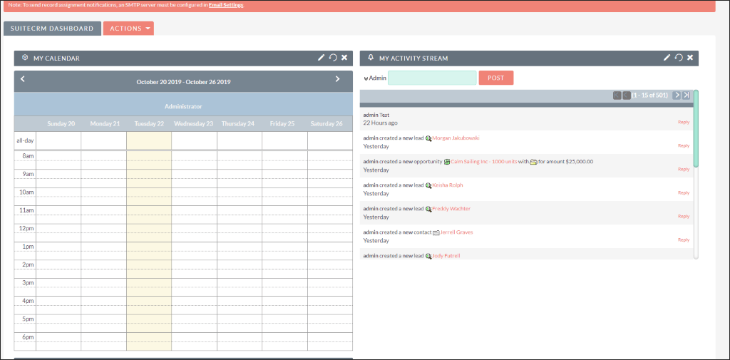 Screenshot of Calendar in SuiteCRM