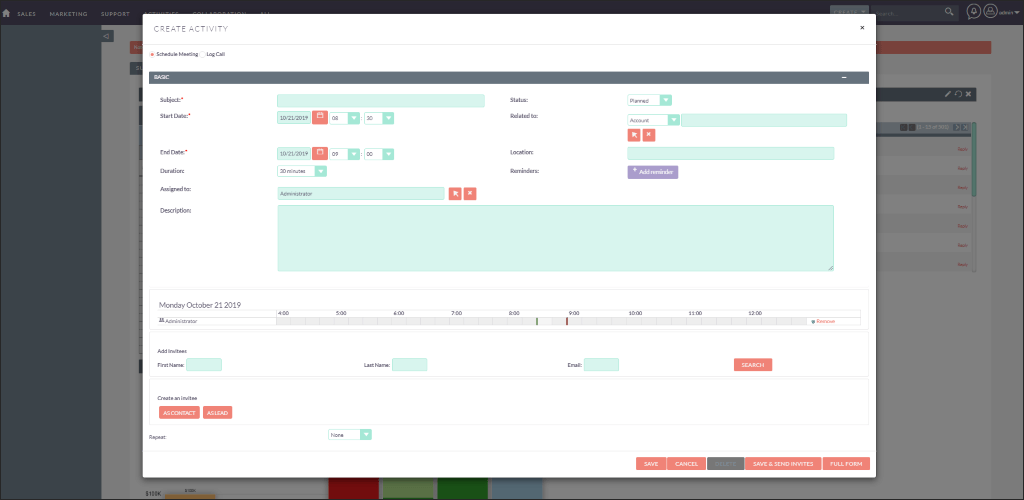 Screenshot of Schedule Meeting in SuiteCRM