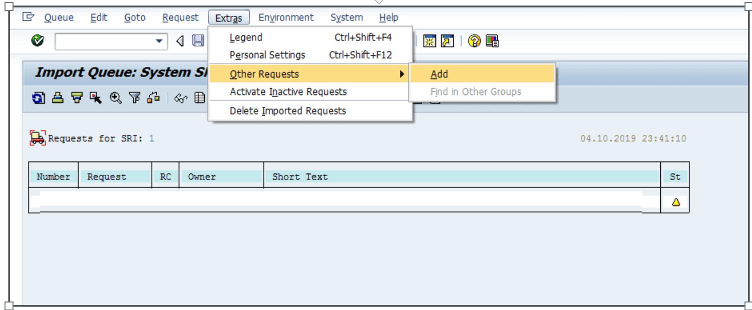 STMS adding SAP transport