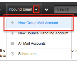 Screenshot of New Group Mail Account in Sugar