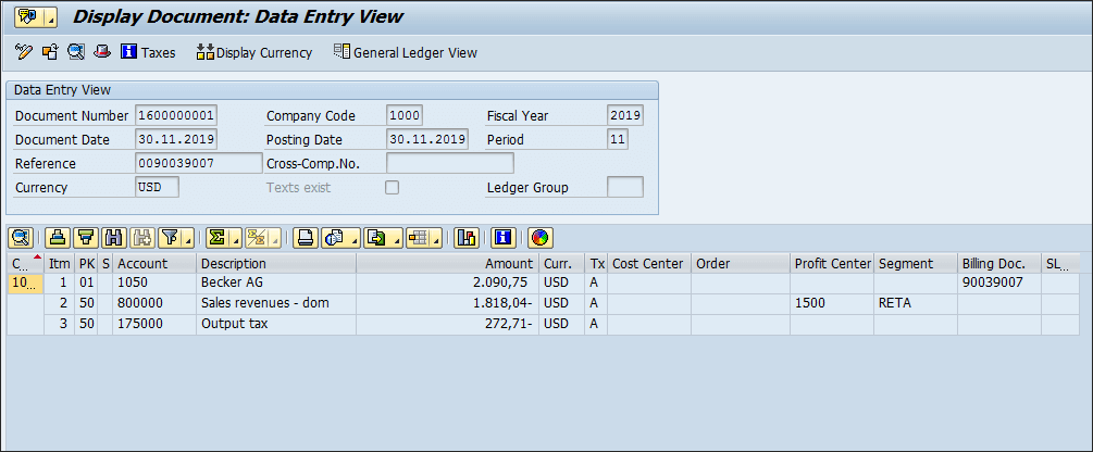 Screenshot of Order entries in SAP