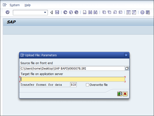 Screenshot of entering Tcode CG3Z in SAP ECC