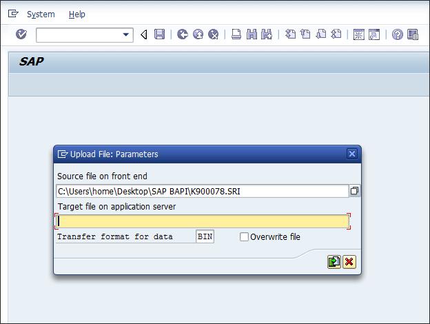 Screenshot of entering Tcode CG3Z in SAP ECC