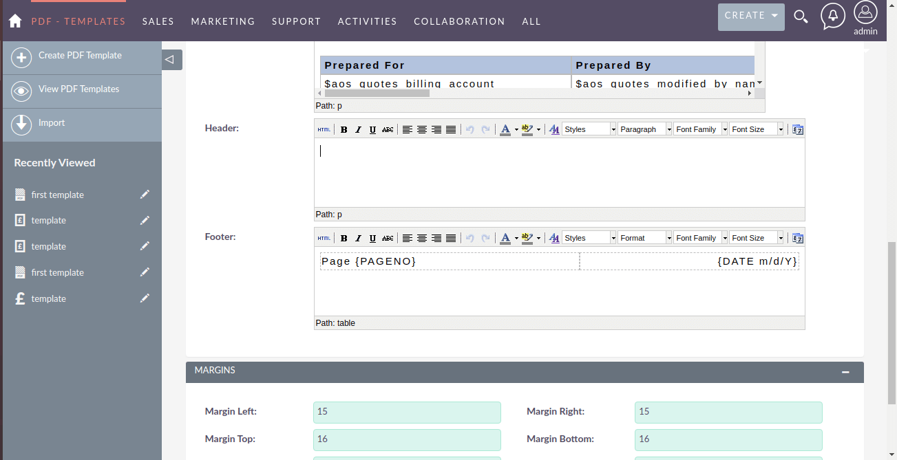 Screenshot of headers and footers in PDF Template in SuiteCRM