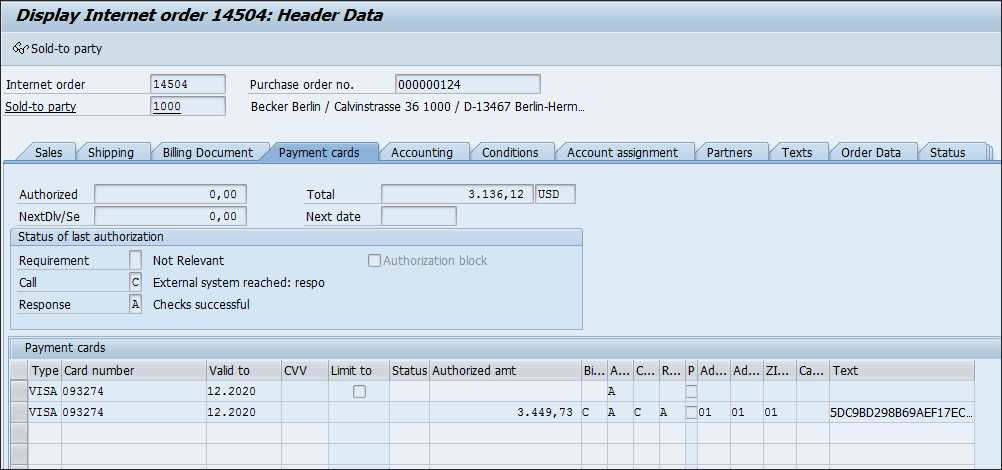 Screenshot of order response in SAP