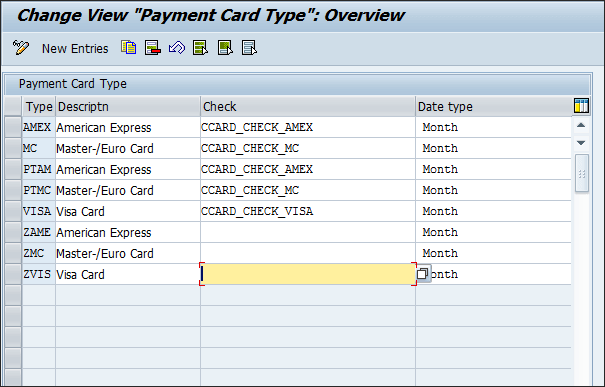 Screenshot of payment card types in SAP