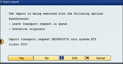 Screenshot of popup screen of an import transport request in SAP