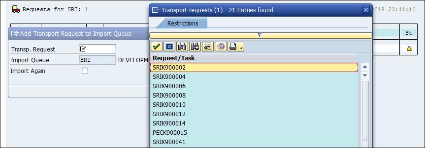 Screenshot of transport requests in SAP
