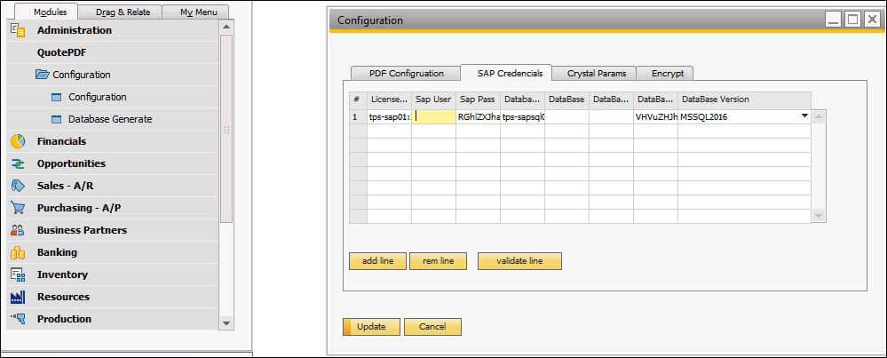Screenshot filling company details in SAP for PDF configuration