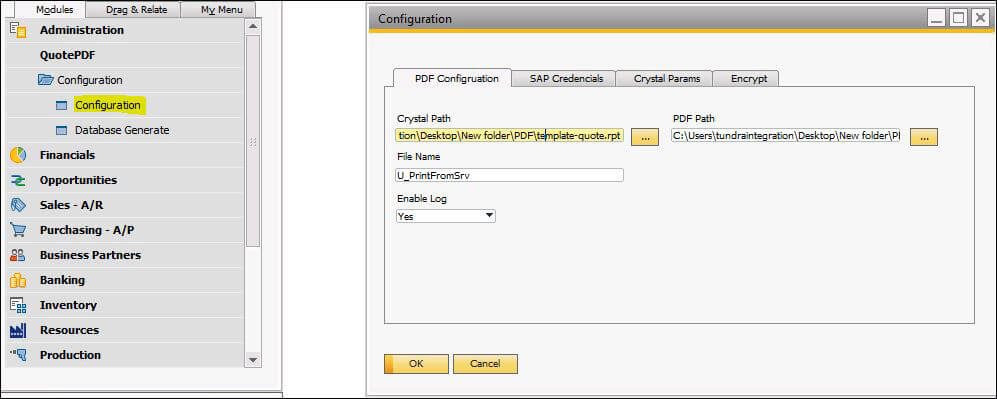 Screenshot of PDF Configuration in SAP