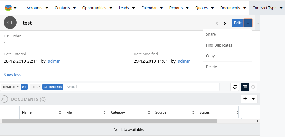 Screenshot of Contract type Record View in SugarCRM