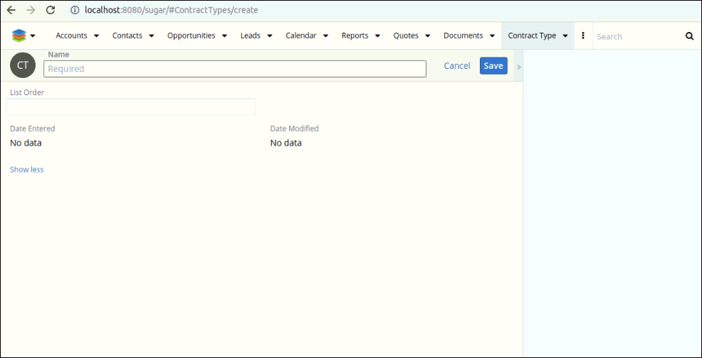 Screenshot of Creating Contract type in SugarCRM