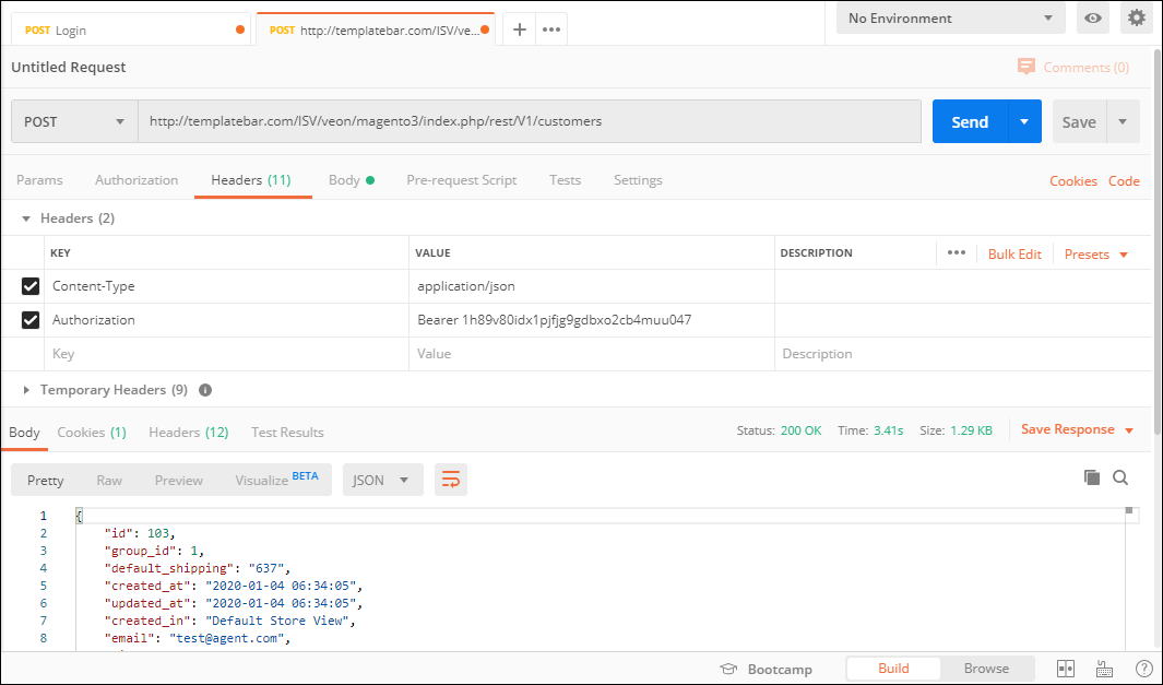 Screenshot of response from Magento