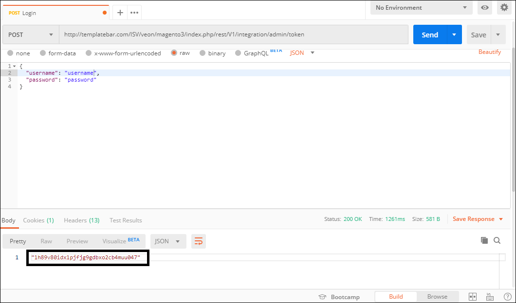 Screenshot of sending a request to Magento