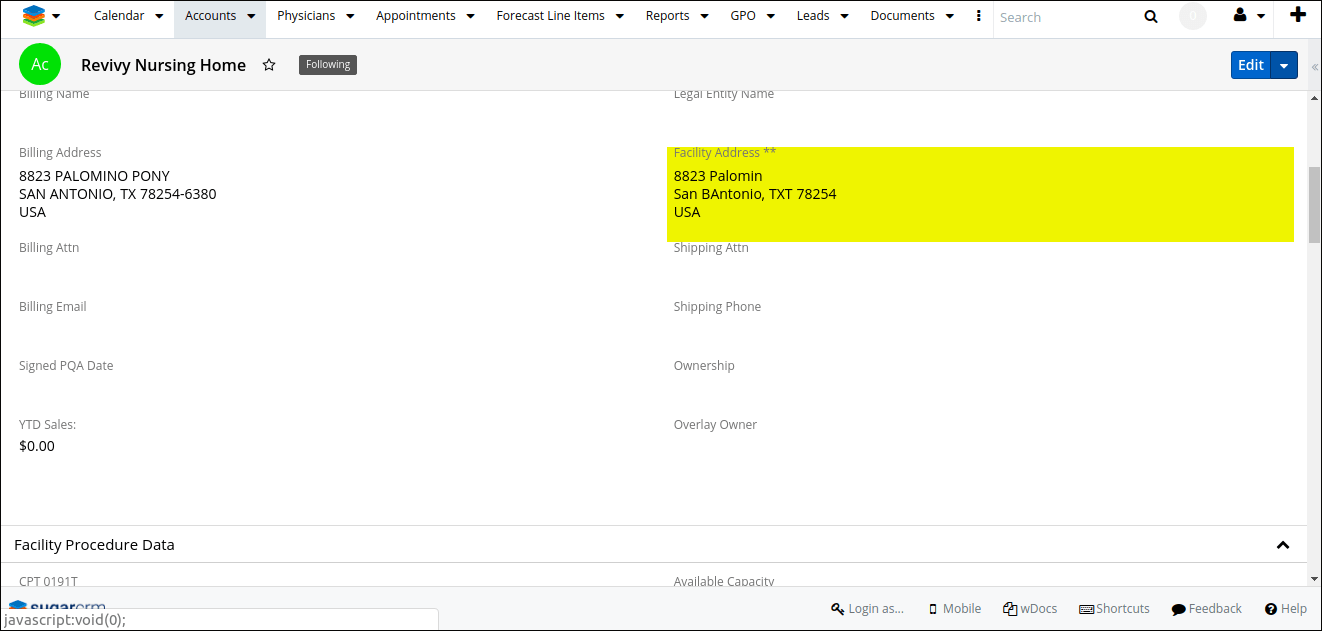 Screenshot of facility address with postal code in SugarCRM